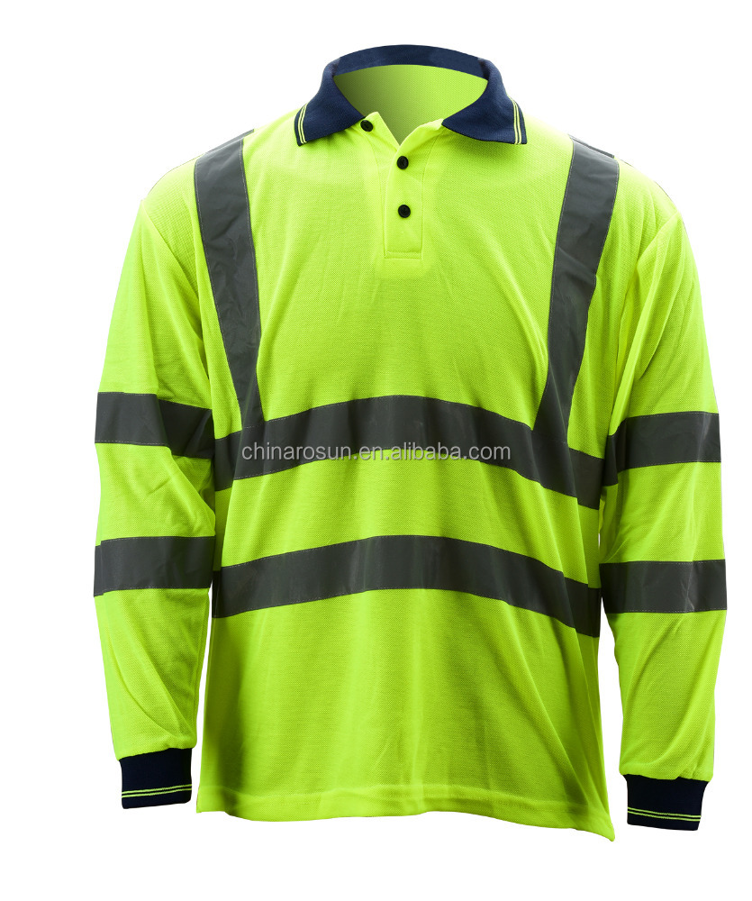 Hi-vis safety vest breathable polyester birdeyes materials long sleeve T shirt extreme moisture wicking POLO shirt EN20471