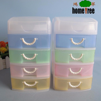 PP colorful 4 tier drawer box