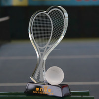 high quality K9 crystal tennis trophy award with black base