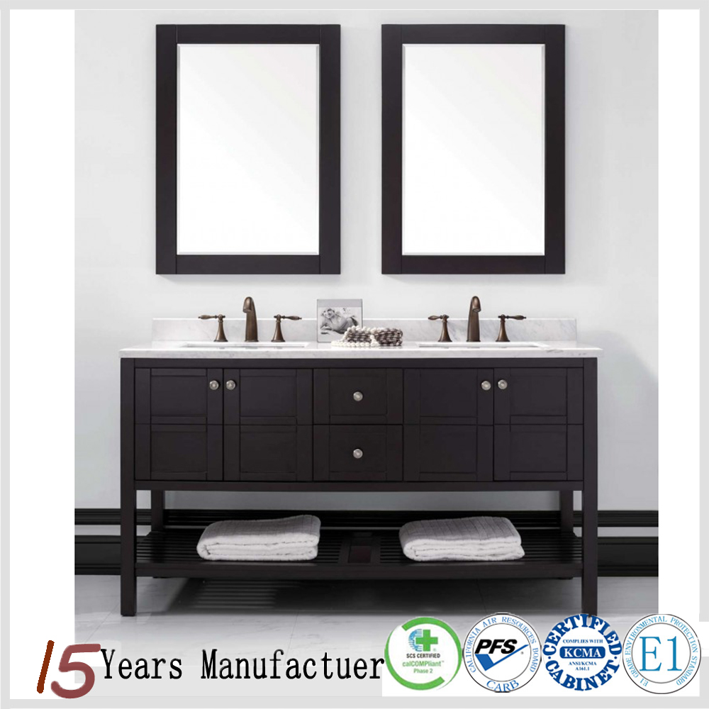 China Made Cheap Bathroom Double Sink Vanity With Black Shelf