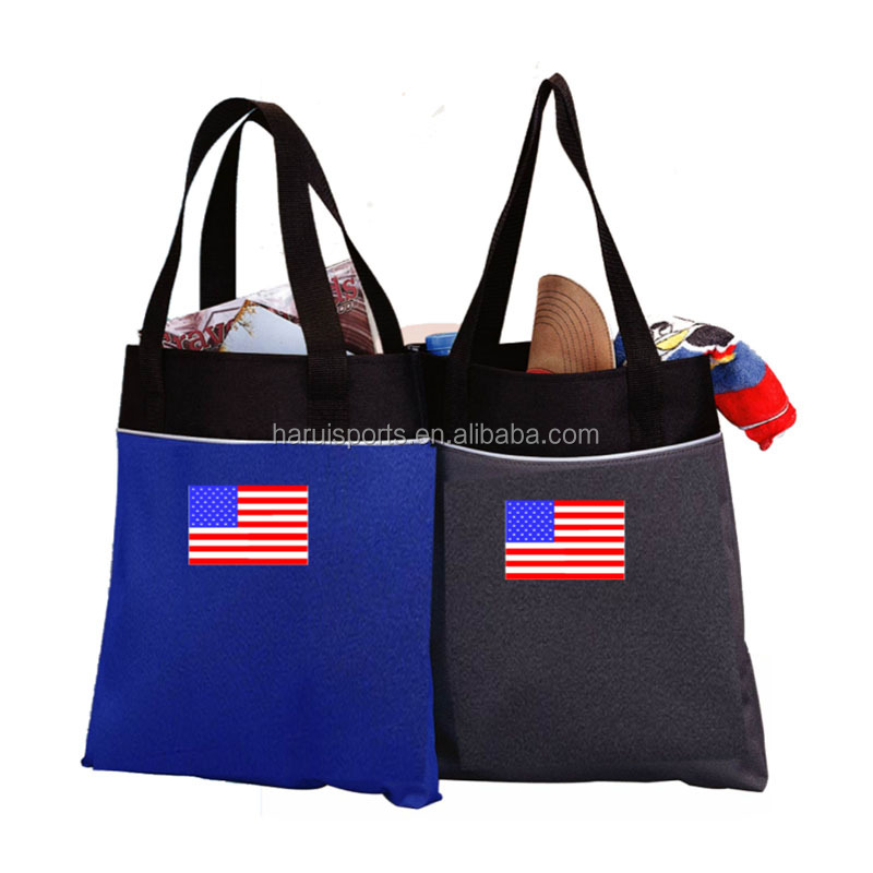 Two-tone body stylish tote bag classic light weight polyester shopping bag