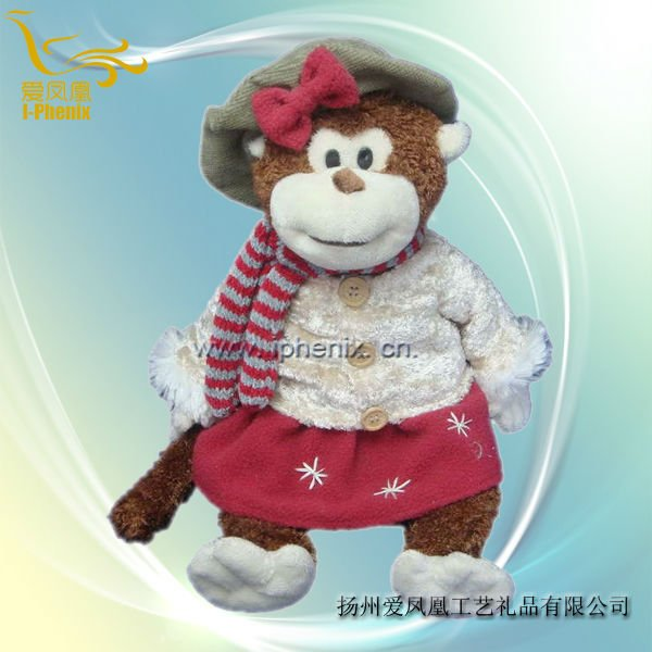 Plush & Stuffed Toys-Winter Girl Monkey