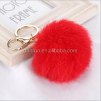 Speed sell pass hot style 8 cm real rabbit fur ball key chain pendant Leather handbags accessories plush pendant ca