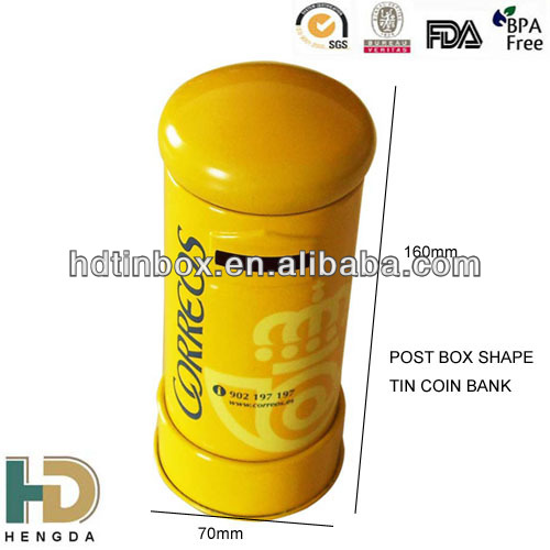 Post box shaped tin coin bank tin piggy bank for for How to open a tin piggy bank