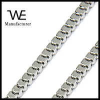 Shiny Luxury Silver Tone Snake Design Cube Box Chain Necklace Stainless Steel