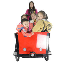 CE family bakfiets pedal assisted 3 wheel heavy duty bicycle with cabin for cargo use