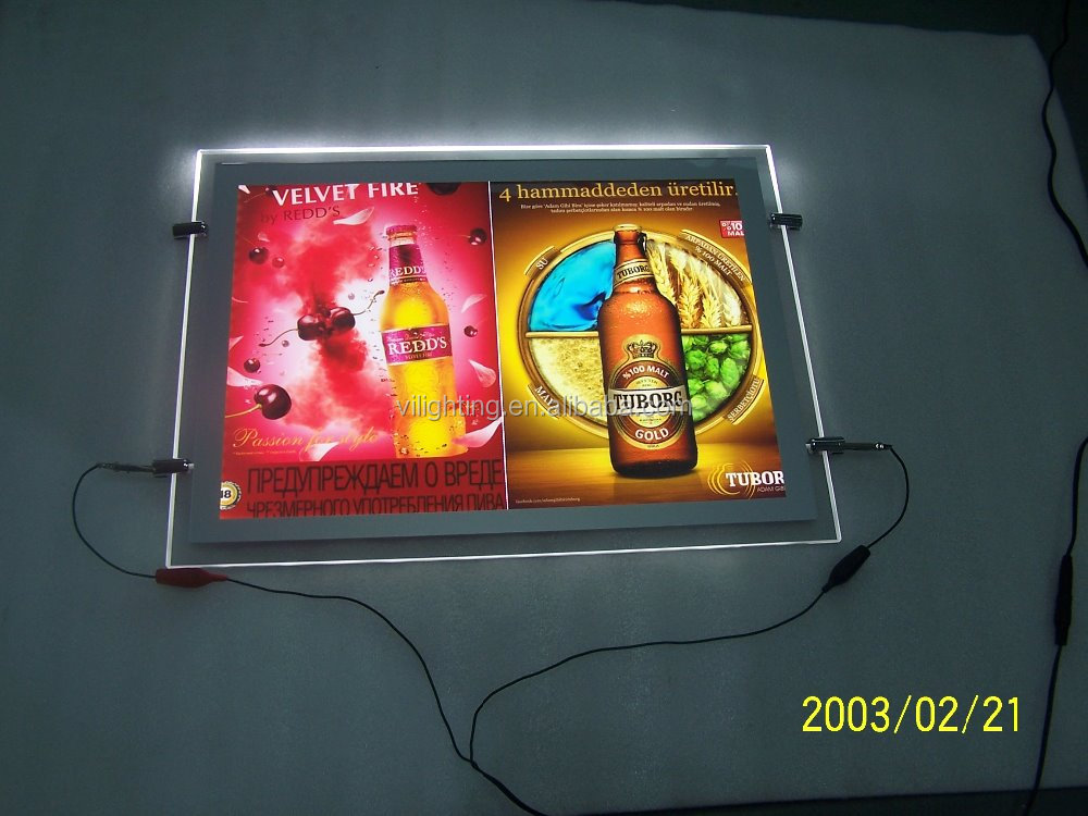 Ultra Slim Double Sides Led Hanging Crystal Light Box