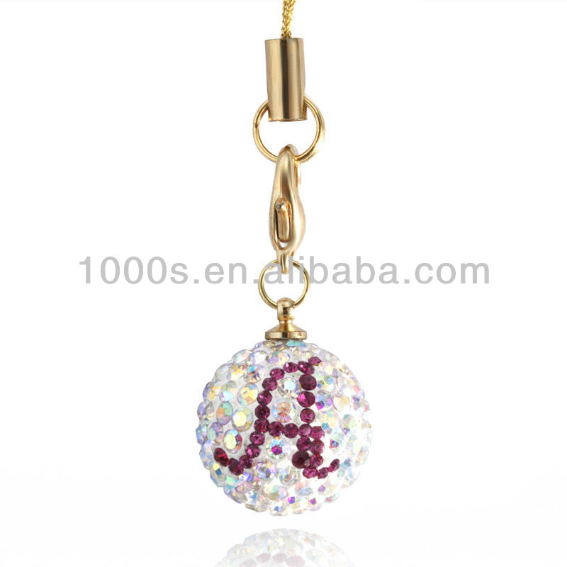 Fashion colored crystal letter A charms mobile phone charms/accessories