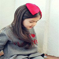 Wholesale fashion European style hot sale cotton girls large bow elastic headbands hair accessories for kids AHB1038