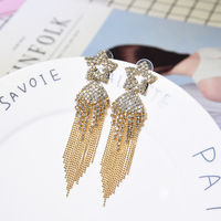 Kaimei china jewelry wholesale luxury exaggerated star shaped full diamond earring multi-layer tassel statement earrings women