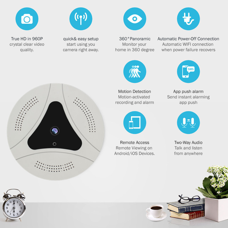 Popular the newest  cloud storage  indoor security 360 degree panoramic camera with  google  hot selling