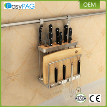 Latest design universal magnetic stainless steel rack cutting board drying holder knife block