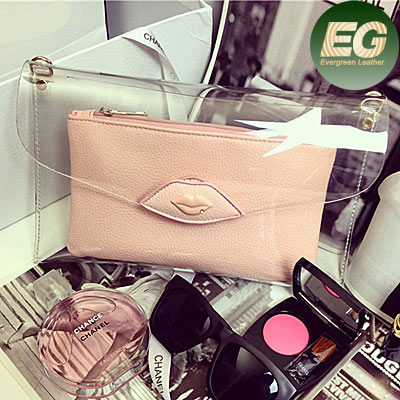 New! Ladies transparent purses and handbags cute girls lips bag candy bag factory price SY5567