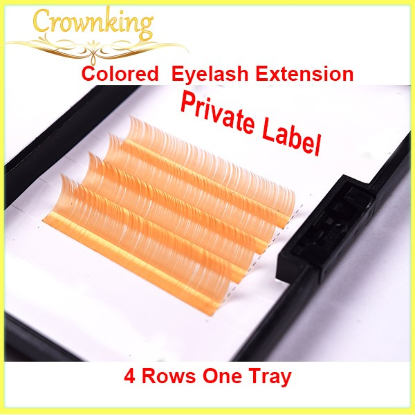 yellow color eyelash extension in 4 rows