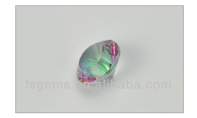 Hot Sale Good Quality Round Concave Cut Rainbow Natural Mystic Quartz Stone Price
