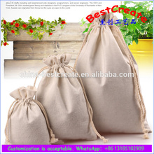 High quality fashion dust cloth gift pouch cotton linen drawstring spritz gift bag