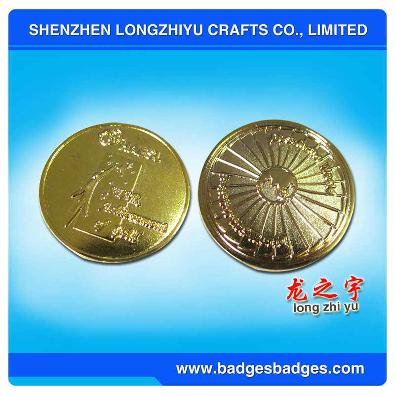 Gold Plated Stamped Two Sides Commemorable Metal Coins