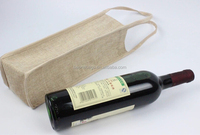 Eco Friendly Single Bottle Jute Burlap Wine Gift Pack Tote Bag