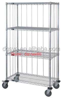"Three Sided 4 Shelf Cart 18""D x 36""W x 80""High with Rods & Tabs"