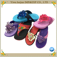 New Style Hot Sale High Heel EVA Material Lace Flower Flip Flops Women Slippers