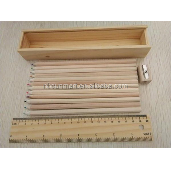 Factory Direct Stocked wholesale high quality 7'' basswood graphic colored pencil ruler sharpener set for promotion