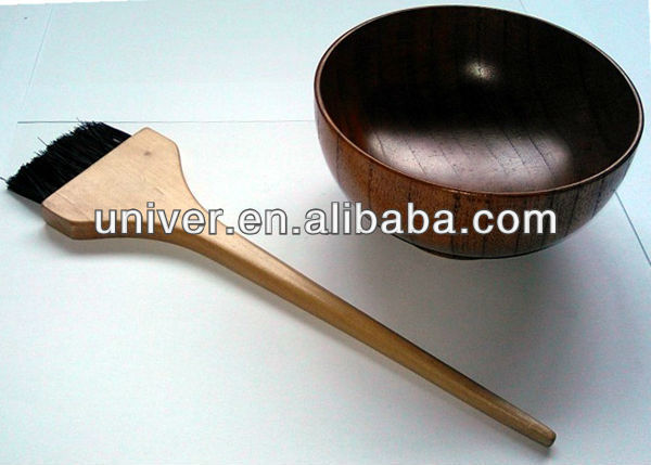 New Hot Sell Salon Plastic Hair Color Tinting Dye Wooden Bowl with Brush Set C5018