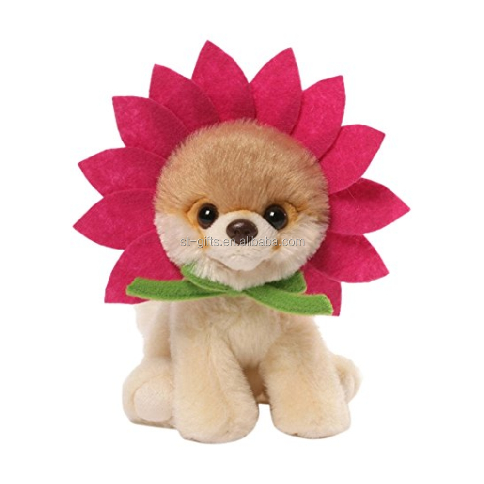 St dog with sunflower headband unisex plush toys small dog cotton filled