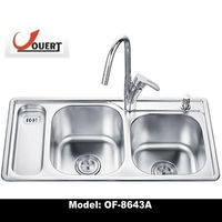 OF-8643A Enamel Free Standing Double Drainer Stainless Steel Kitchen Sink