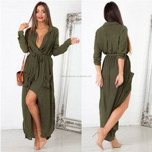 WOMENS SPLIT MAXI LONG DRESS SHIRT EVENING PARTY WRAP DRESS SIZE 8-14