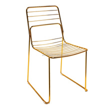 Commercial Home Gold leaf Shape metal wire dining chair, gold color wire frame chair
