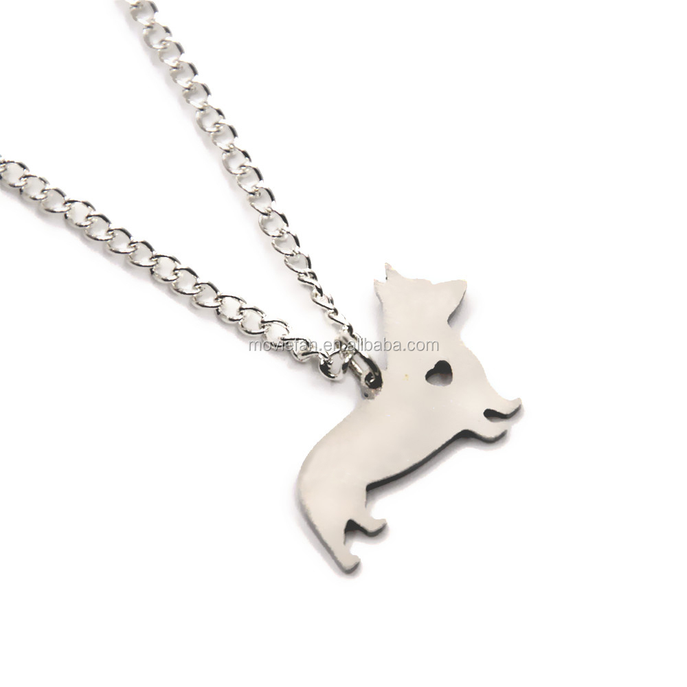 Corgi dog necklace charm heart cute dog pet i love dog charm pendant necklace