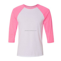 OEM Fashion Womens 3/4 Sleeve Raglan Baseball Triblend Casual T Shirt Tee Jersey Crop Tops Blaouses Wholesale Custom