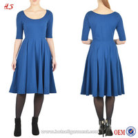 Alibaba HotSell Latest New Arrival Women Pleats Clothes Blue Vintage Below Length Sleeves Dress