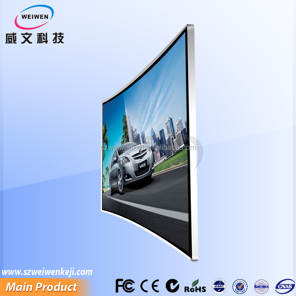 49inch wall mounted and table top available full hd advertising curved lcd tv