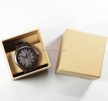 men's wooden watches genuine leather black with quality kraft gift box
