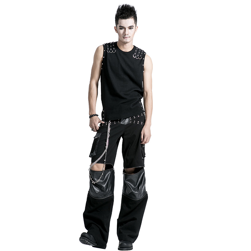 <strong>K</strong>-151Gothic men loose pant with leather-strip/detachable to be short pants