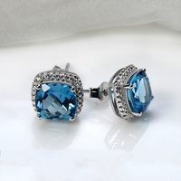 london blue topaz 925 sterling silver earring gold plated natural gemstone jewellery ,china wholesale jewelry