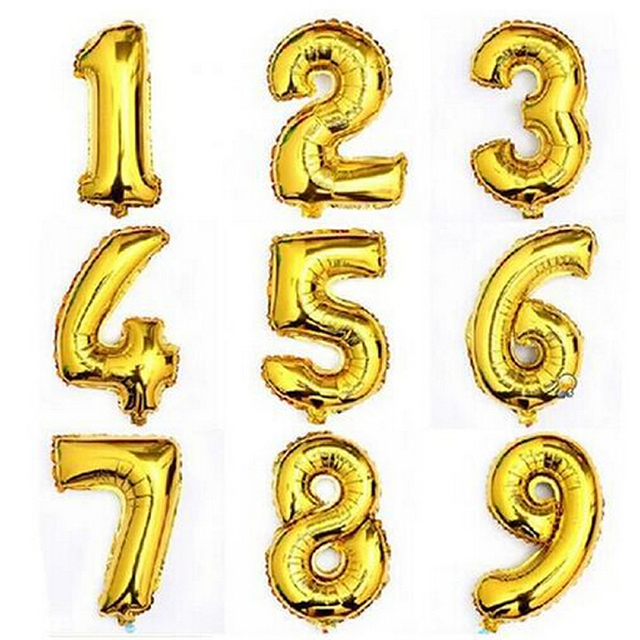 1PC Large 32inch Gold Number Balloon Big Aluminum Foil Giant Balloons Birthday Wedding Party Ballon Decora Celebration Supplies