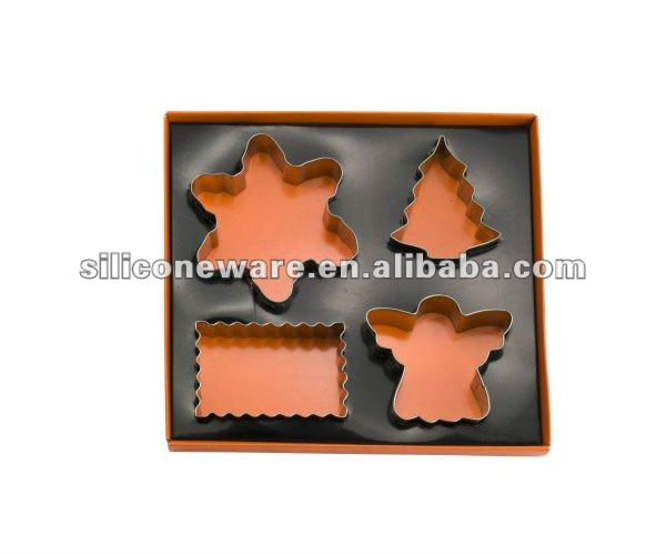letters shape stainless steel cookie cutter set with color storage tin,mini cookie cutter set