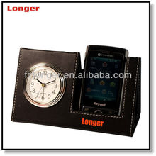 Antique newest pu leather clock cell phone holder for desk phone stand with clock