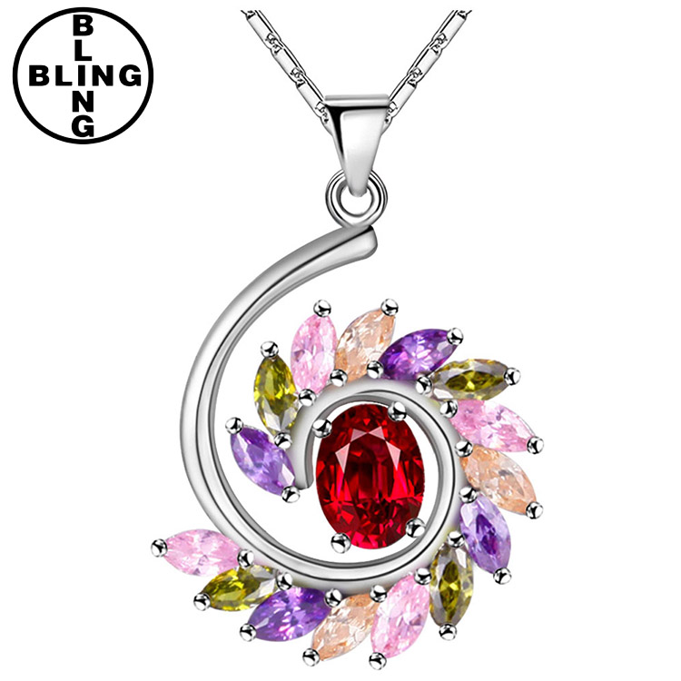 >>>Bling-Fashion,NK104,High quality colorful crystal horses pendant,spiral necklace for ladies.