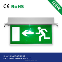 3W High Quality Self-testing Maintained Recessed DP LED Emergency Exit Sign Light with CE /RoHS Approval