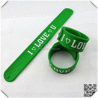 Wholesale silicone slap wristbands with silk screen printing for kids promotional gifts