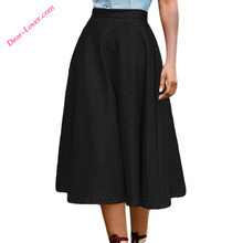 Black Winter Fashion Grain Midi Swing Girls Leather Skirt