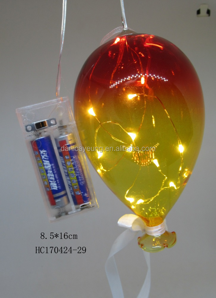 Decorative Red glass flashing led light up balloons for holidays