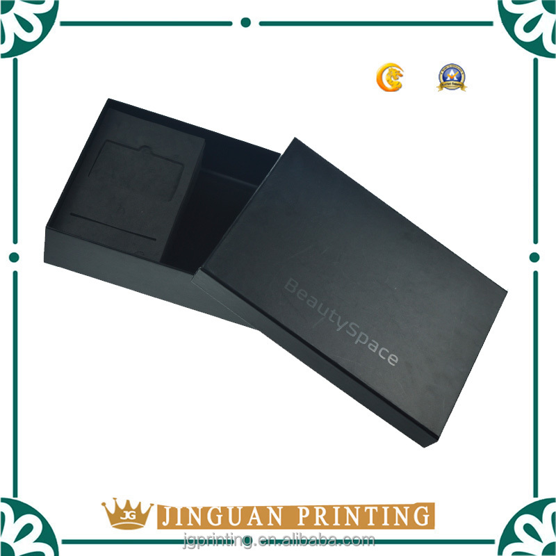 Matt Laminatin Custom Logo Black Packaging Box with foam Insert
