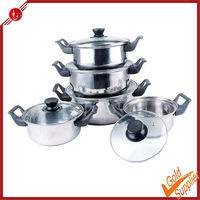 glass cover with plastic handle 5pcs cookware pot set soup pot stainless steel stock pot