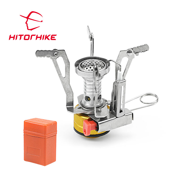 Orange Ultralight Portable Outdoor Backpacking Foldable Camping Mini Stove with Piezo Ignition