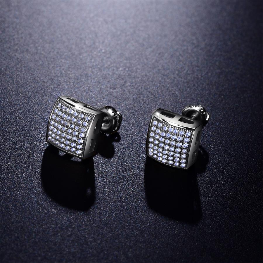 rhodium platinum hip hop cz diamond men stud earrings screw back