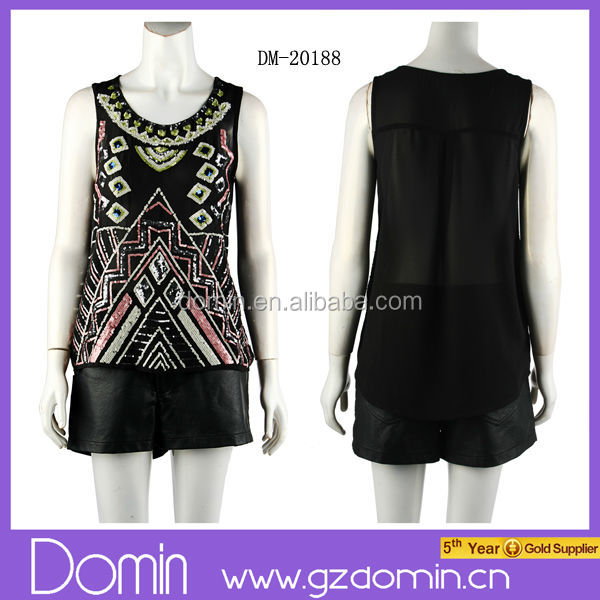 2014 Women Clothing Custom Sequin Blouse Ladies Blouses & Tops